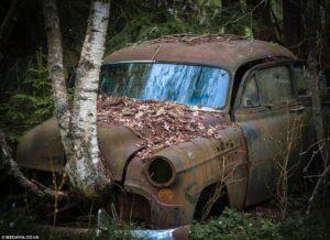 Кладбище автомобилей в Швеции фото