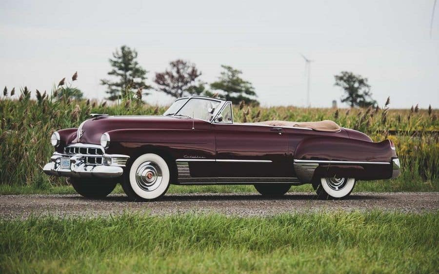 Cadillac Convertible Series 62 1949 года бордовый фото
