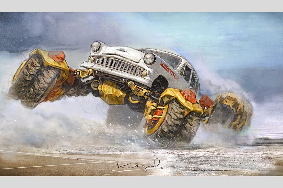 рисунки советских автомобилей Данияра Кдырова фото