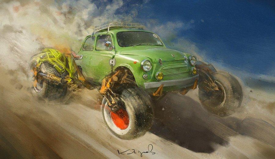 Забавные рисунки советских автомобилей Данияра Кдырова фото